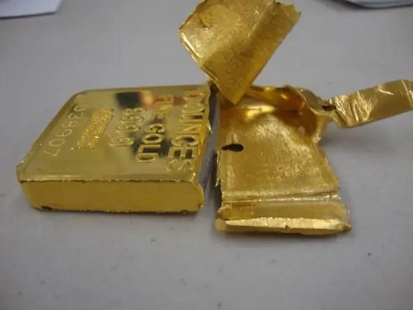 Lingotto di tungsteno placcato oro, ideale per i bonzi di tutto il mondo