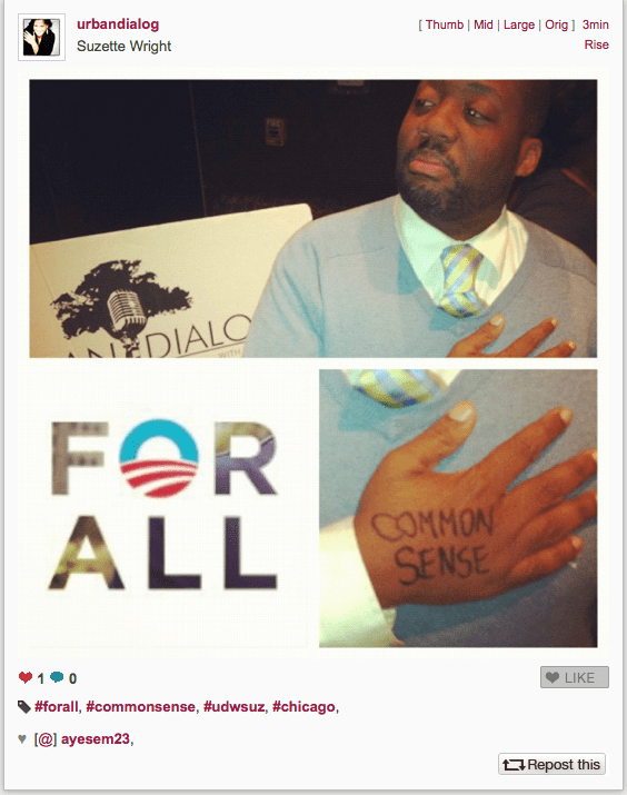 Apart from Tweeting pictures from the campaign trail, the Obama camp engages Instagram users. The much-hyped #forall campaign even got celebrity attention.