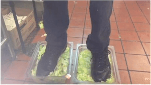 6. The Internet exposes a Burger King employee who stood in tubs of lettuce.