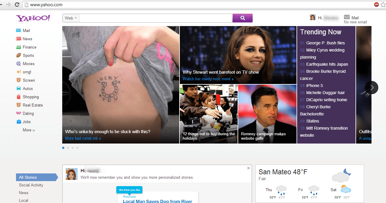 new yahoo homepage design