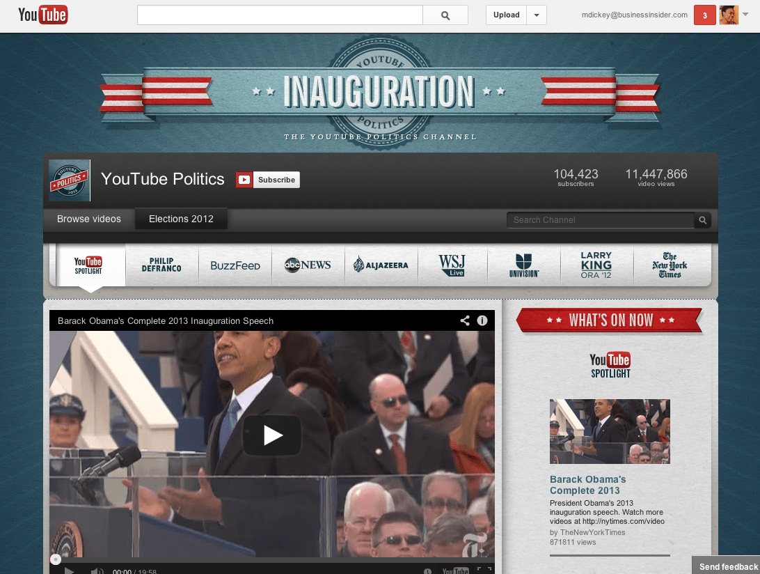 """August 2012: YouTube becomes the go-to place for presidential elections by launching """"YouTube Elections Hub."""" In addition to streaming the live speeches from the Republican National Convention and Democratic National Convention, it featured content from eight news entities: ABC News, Al Jazeera English, BuzzFeed, Larry King, The New York Times, Phil DeFranco, Univision, and The Wall Street Journal."""