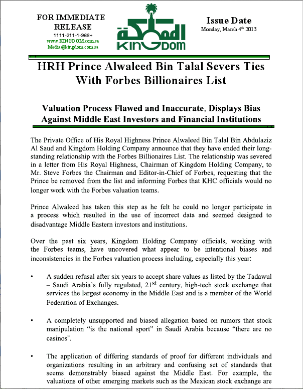 Prince Alwaleed Press release page 1