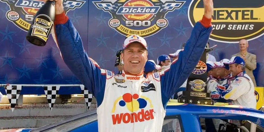 """Talladega Nights: The Ballad of Ricky Bobby"" (2006): NASCAR driver Ricky Bobby (Will Ferrell) stays atop the heap thanks to his hardcore American work ethic, saying, ""If you're not first,  you're last."""
