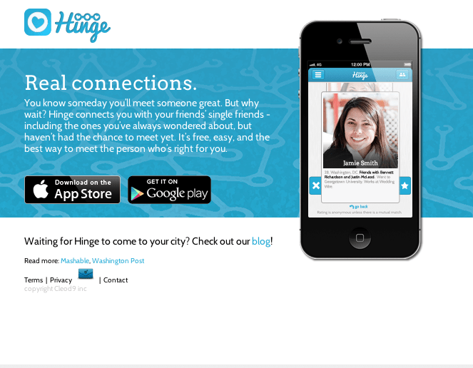 Hinge matches you with the most trustworthy friends of friends.