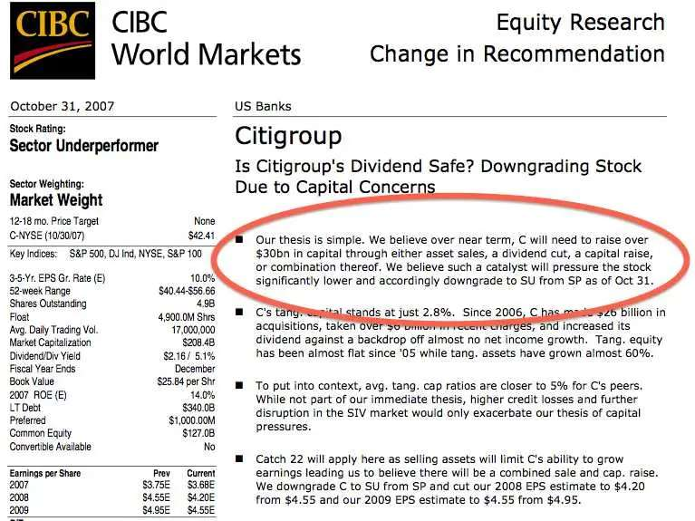 OCT 31, 2007: Meredith Whitney says Citigroup will have to cut its dividend. Later, it does.