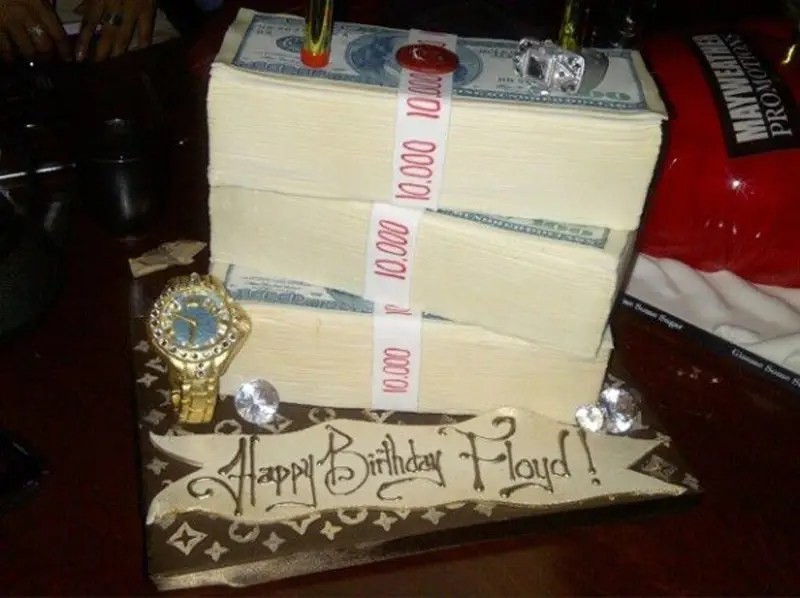 His birthday cake was, appropriately, money.