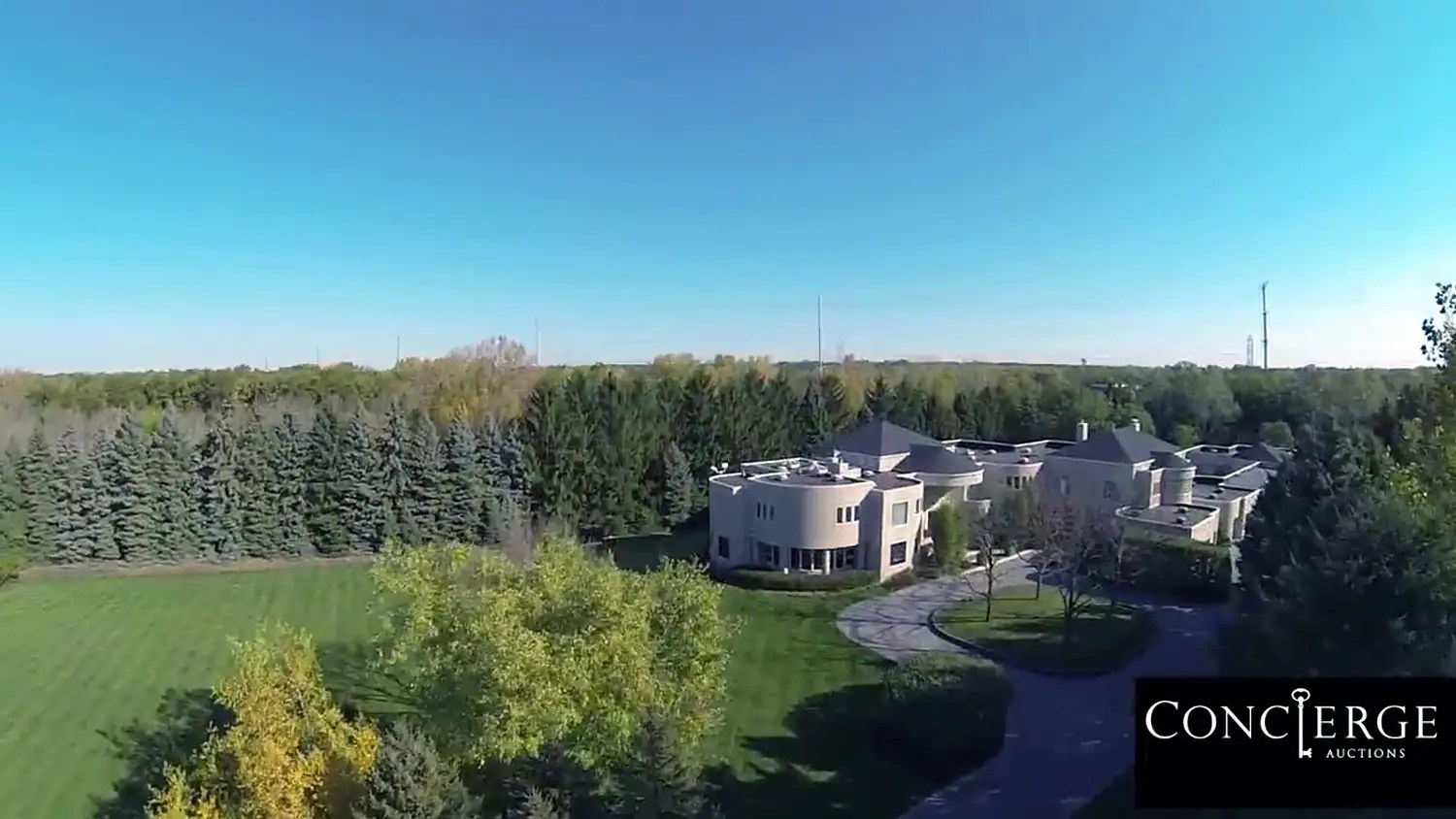 The 56,000 square foot, seven acre compound from the air.