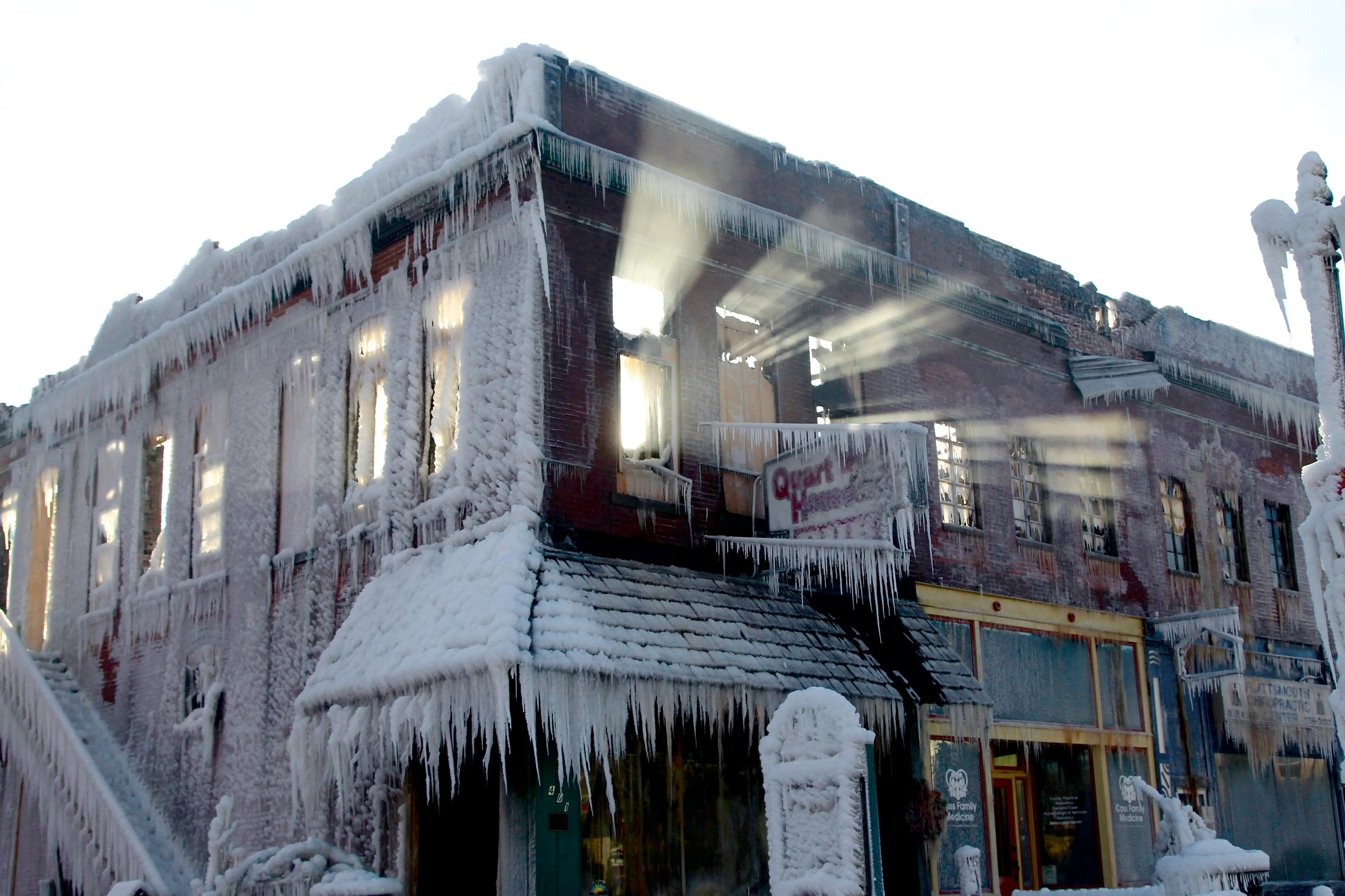 When Nebraska firefighters put out a blaze on Jan. 3, the water they sprayed froze against this building.