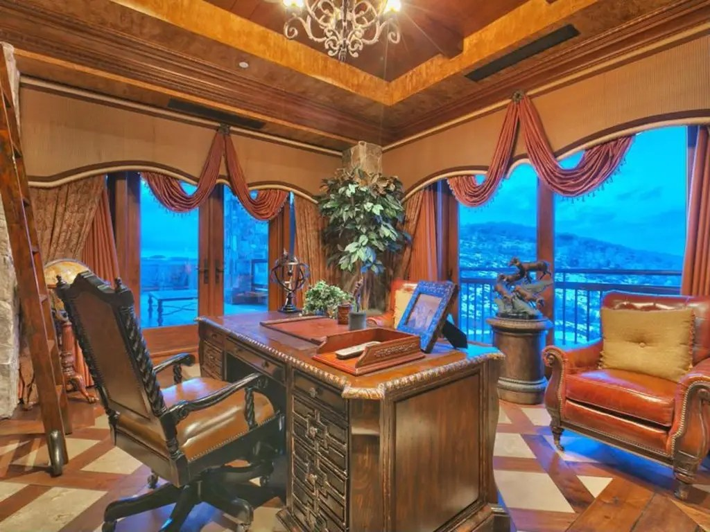The home has a study with gorgeous views.