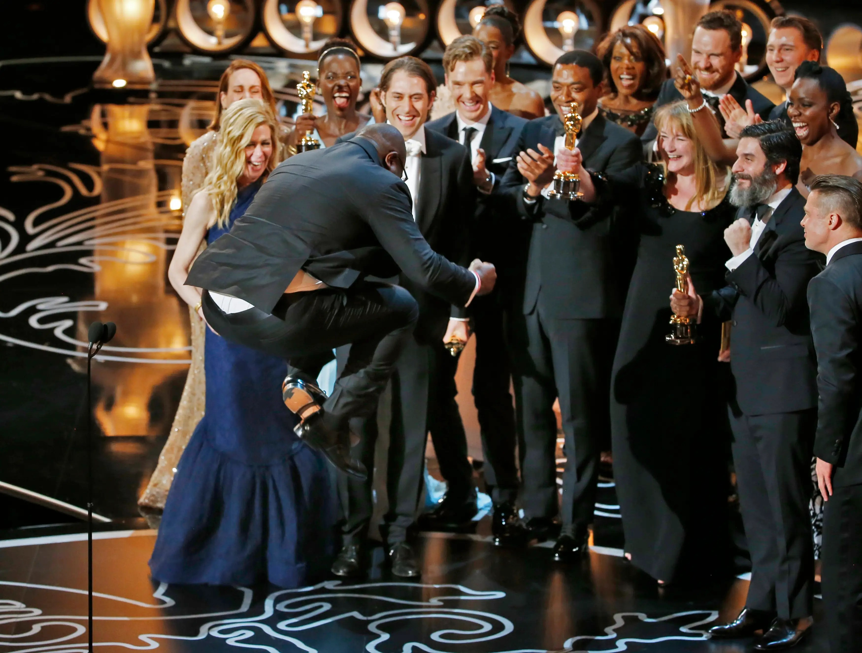 "Director and producer Steve McQueen jumped up and down like a little kid after ""12 Years A Slave"" won Best Picture."