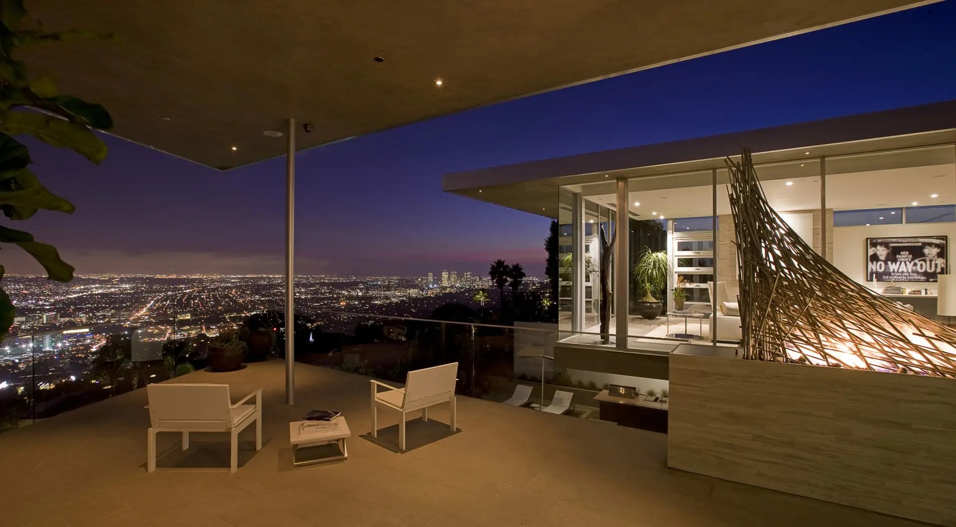 At night, the back patio is a great space for entertaining.