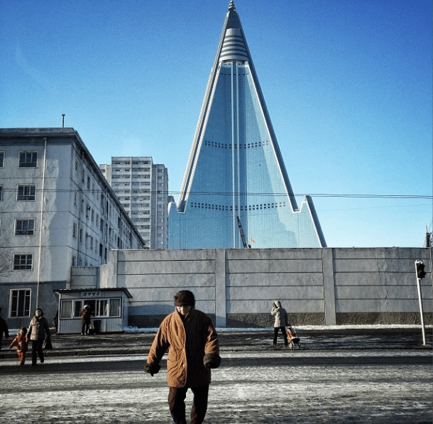 'The yet to be completed, and often photographed, 105-story Ryugyong Hotel in Pyongyang'