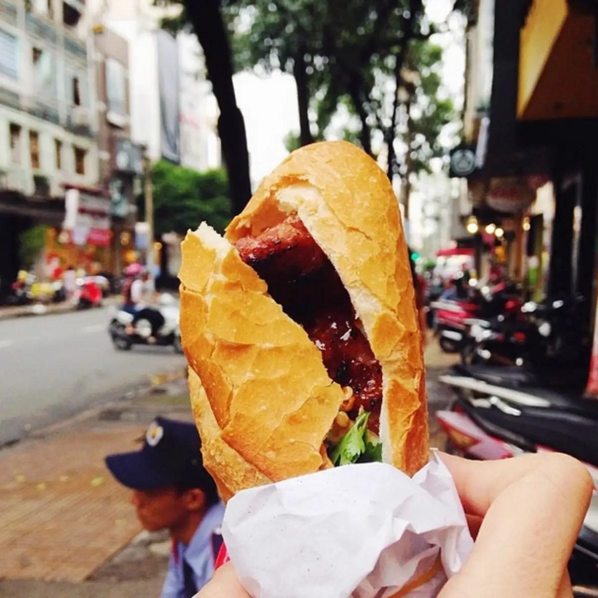 Bánh mì in Saigon, Vietnam. Bánh mì is a Vietnamese baguette, reminiscent of French colonial times.
