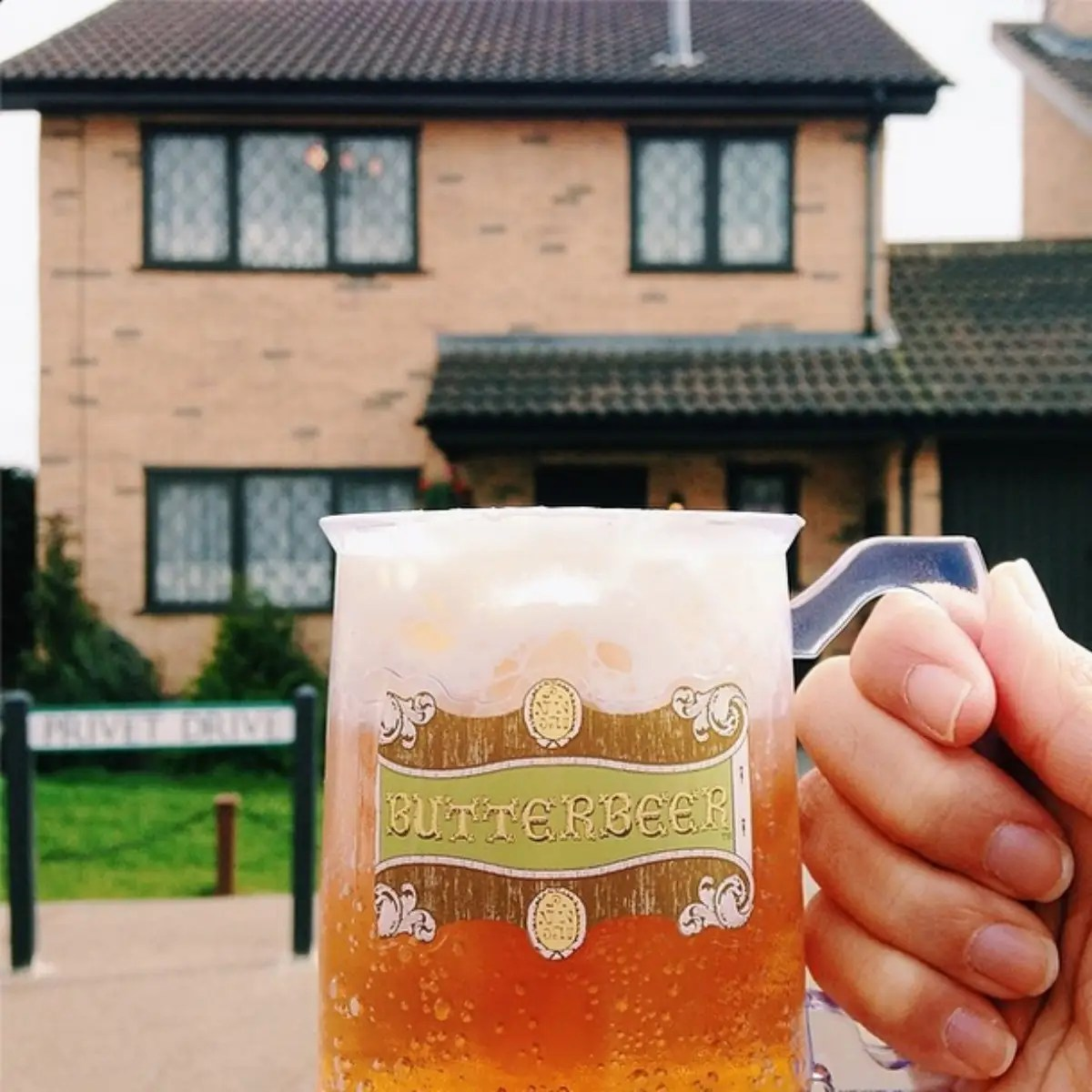 Butterbeer-ing at 4 Privet Drive. Many people have asked me what this tasted like: its like root beer float with a bit of caramel sauce.