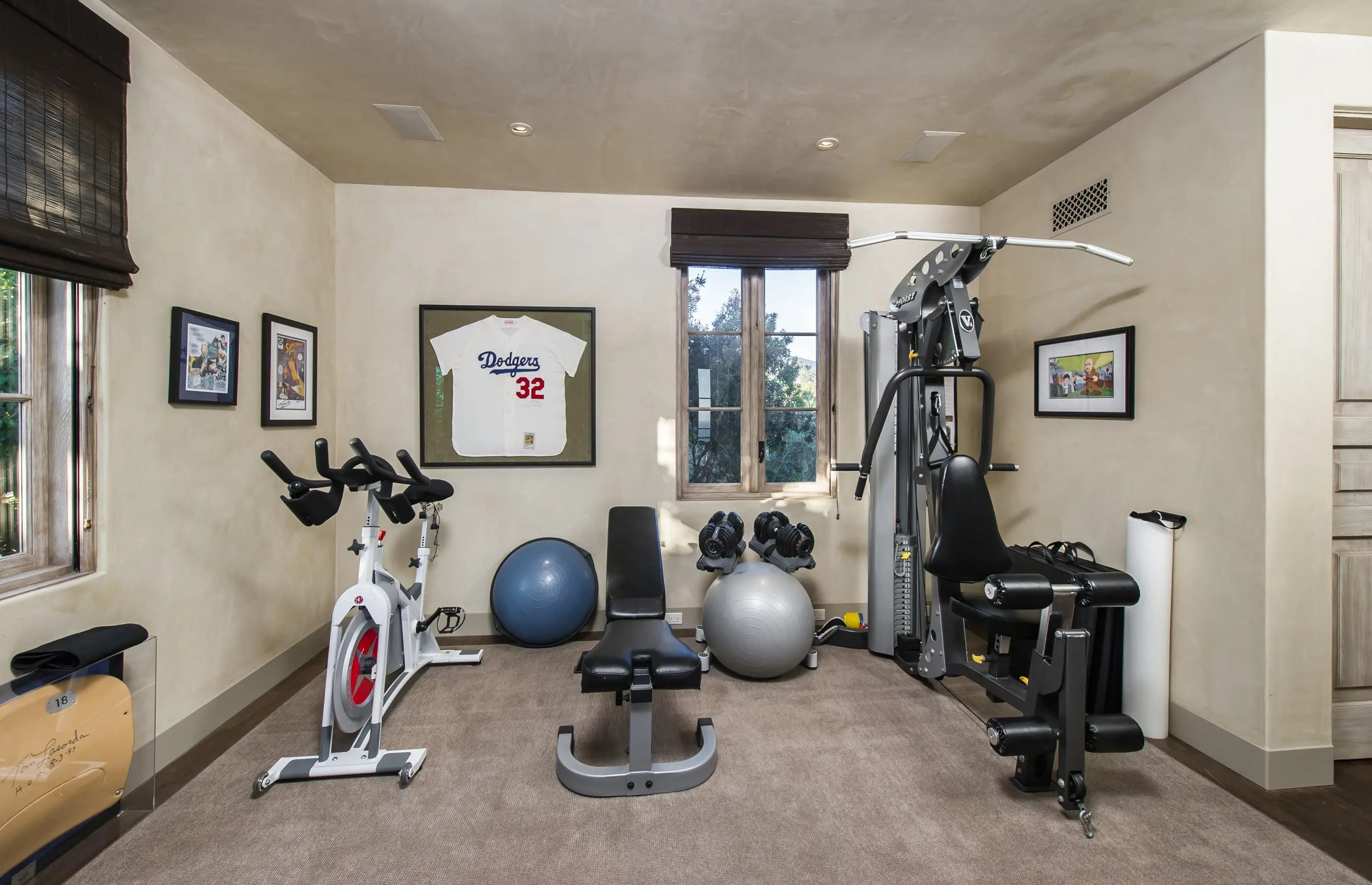 Here's the gym, in case you get sick of running on your 6 acres.