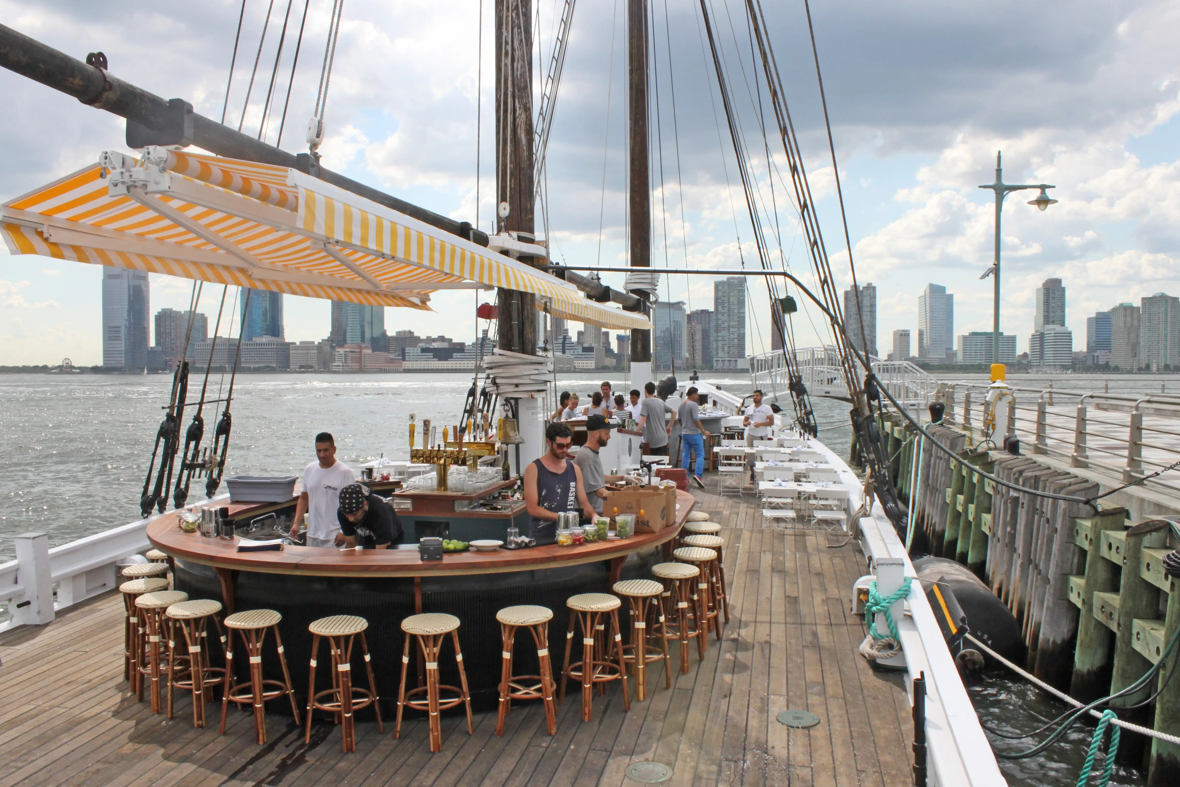 Grand Banks is anchored in the Hudson River, at the end of Pier 25 in Tribeca. The ship is 142 feet long, making it the largest wooden vessel in New York City and one of the largest on the East Coast.