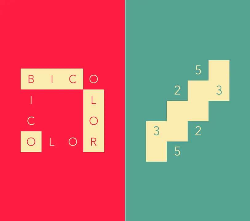 Bicolor is a challenging puzzle game where each level only has two colors.