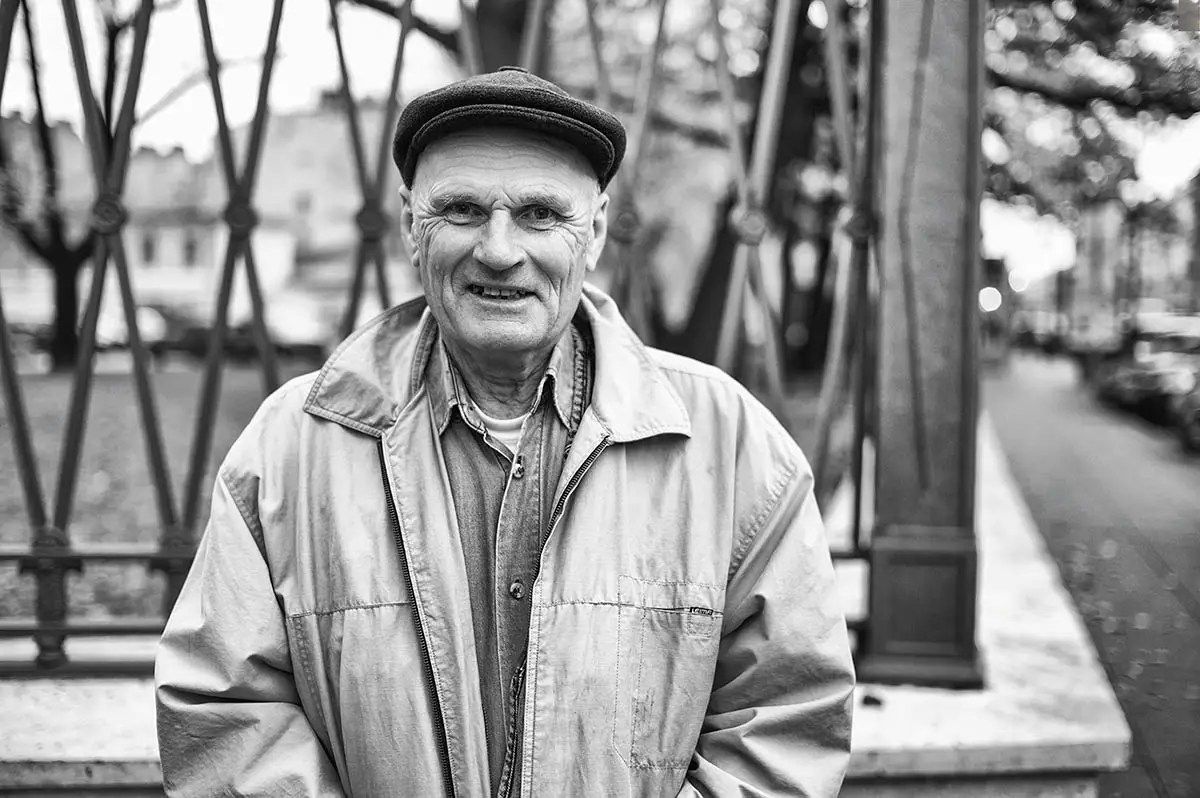 """Oleg, age 71. Profession: Military. Passion or Dream: """"I like constructing things — everything from a small cabinet to a house. I also like to repair technical equipment. I want my grandchildren to be happy."""""""