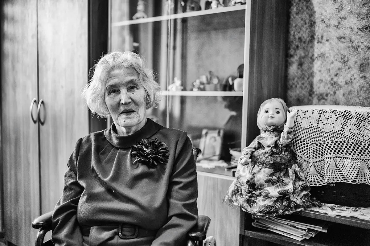 """Nadezda, age 93. Profession: Cashier. Passion or Dream: """"I want to live until I am 100 years old and be healthy and active."""""""