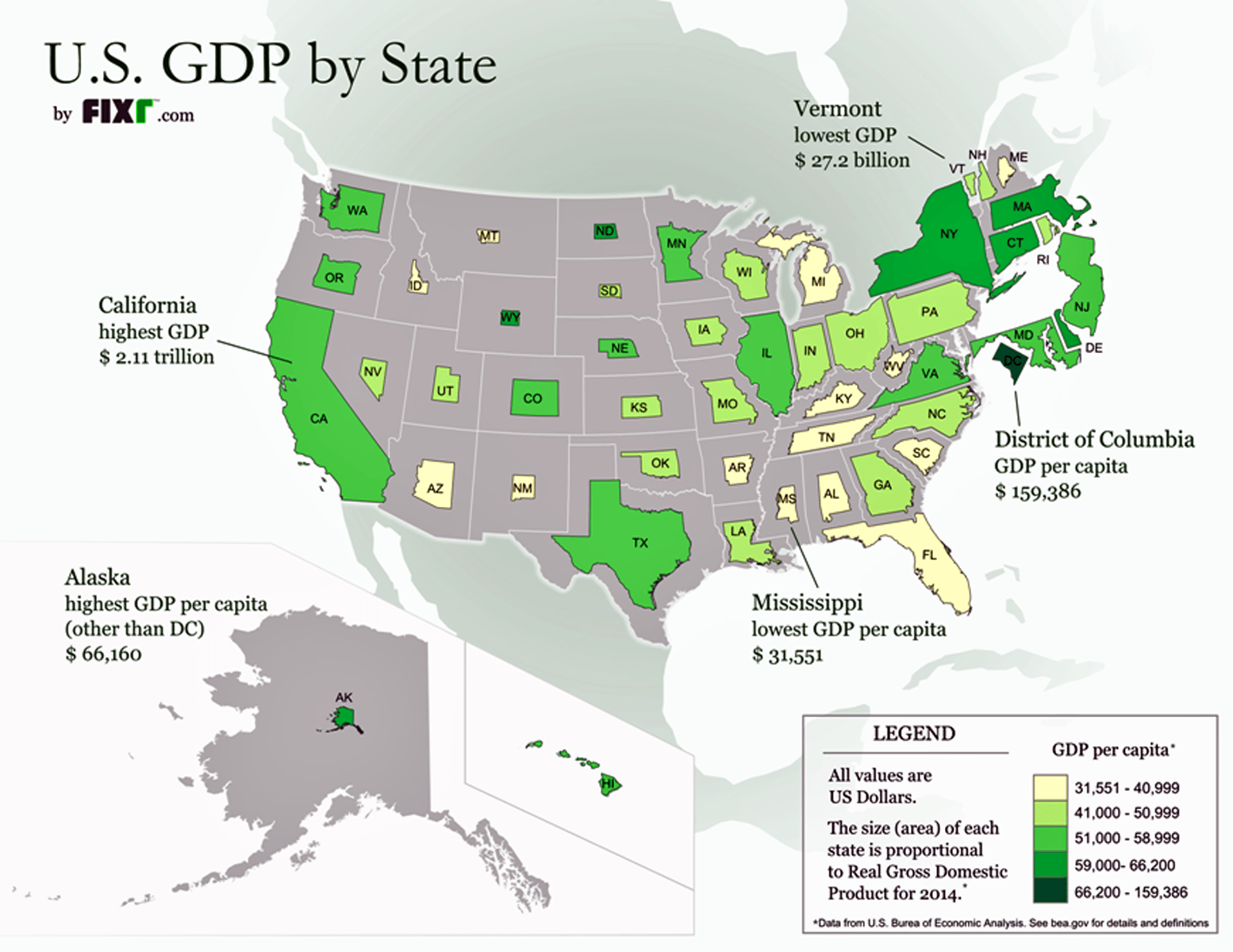Map Resizes Each State Proportionally To Real Gdp