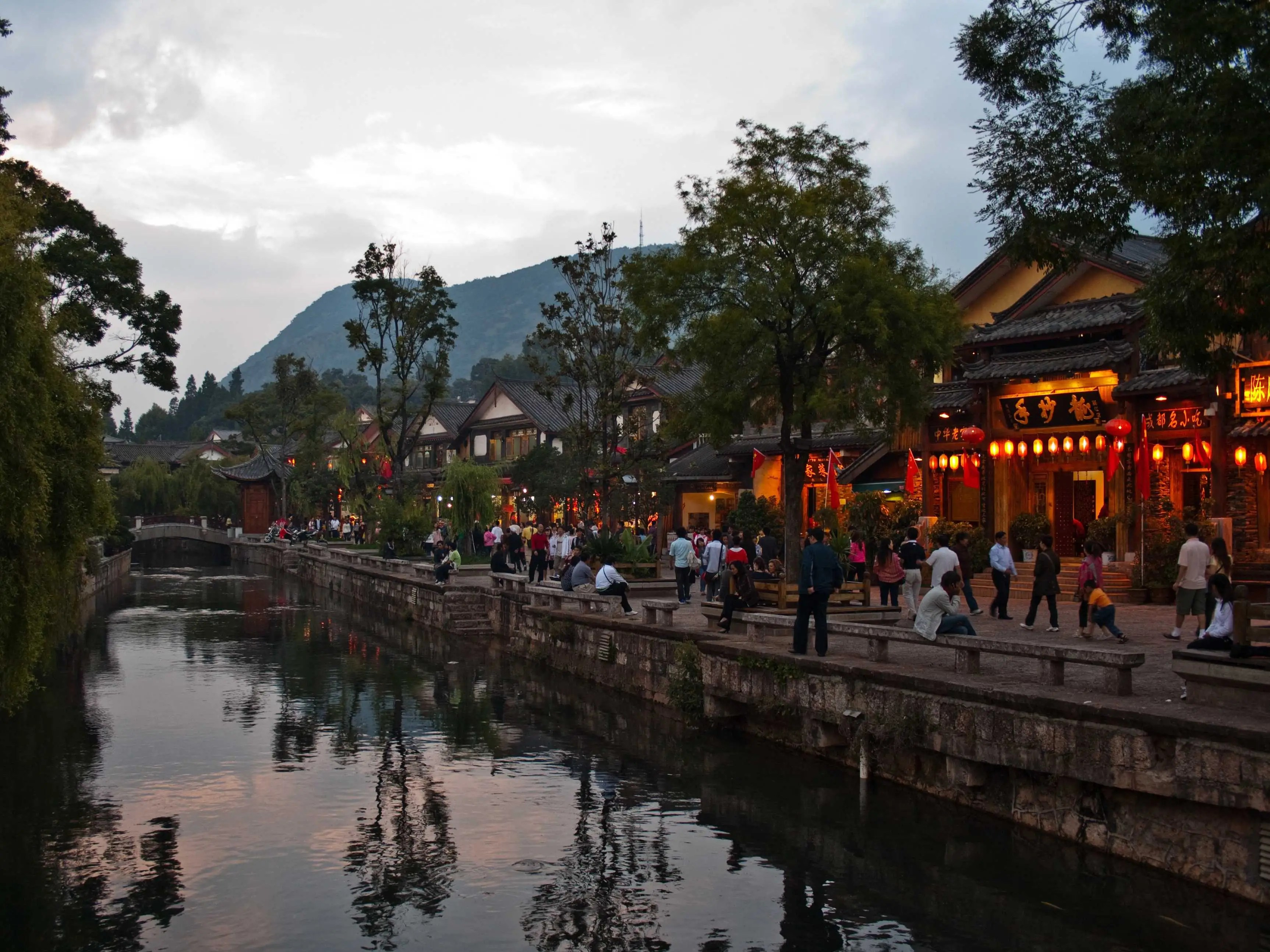 The Old Town of Lijiang in Yunan, China, established in the 13th century, still maintains its historic landscape and a complex, ancient water-supply system, which you can still see functioning today.