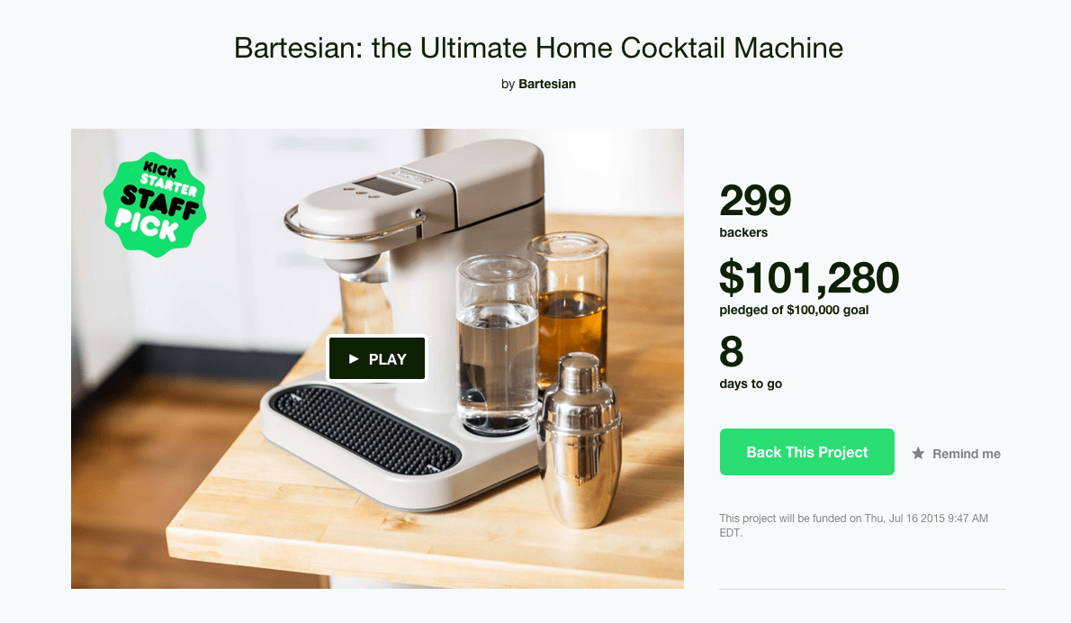 The Bartesian has already made its Kickstarter funding goal. On Kickstarter it costs $299; after the funding it will be $399. If you like to entertain with the aid of a robot, it might just be worth the expense.