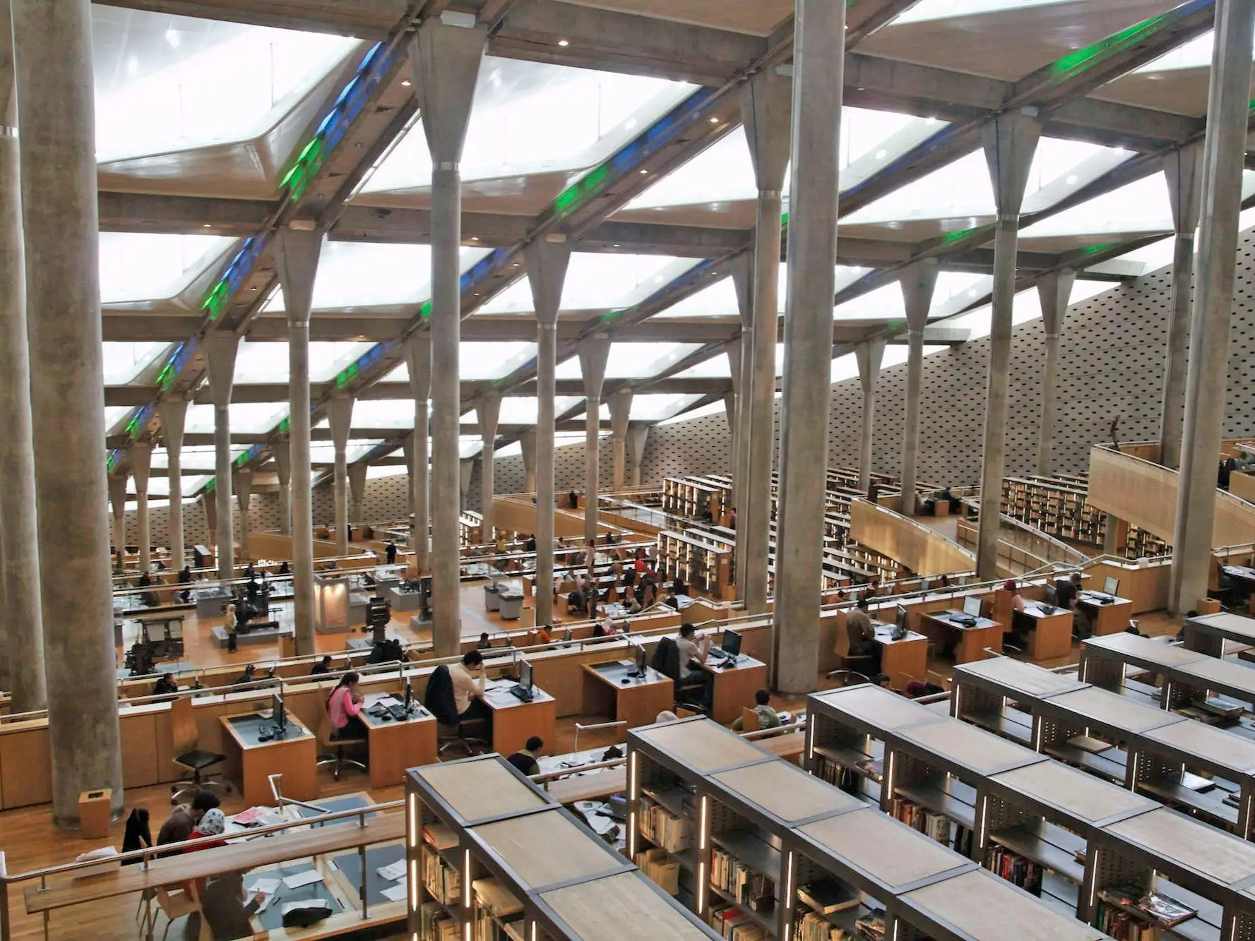 A tribute to Egypt's original library of Alexandria — which dates back to the third century BC — the current Alexandria Library was designed like a sundial. The building leans towards the Mediterranean Sea and allows for plenty of sunlight through its many skylights.