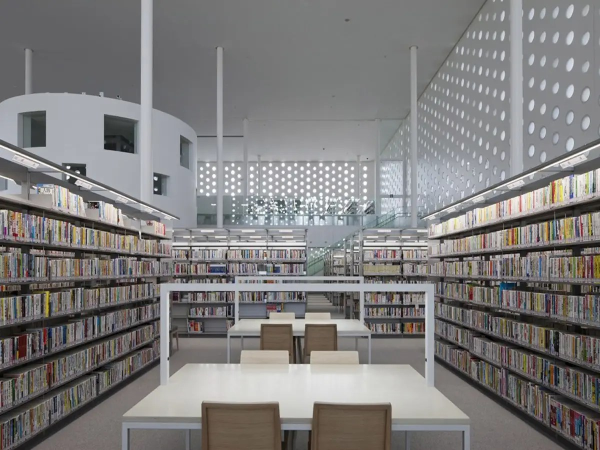 The hole punch-like windows in the Kanazawa Umimirai Library in Kanazawa City, Japan, are meant to make the library look like a forest of books. The goal of the  library's design is for it to be a tranquil space.