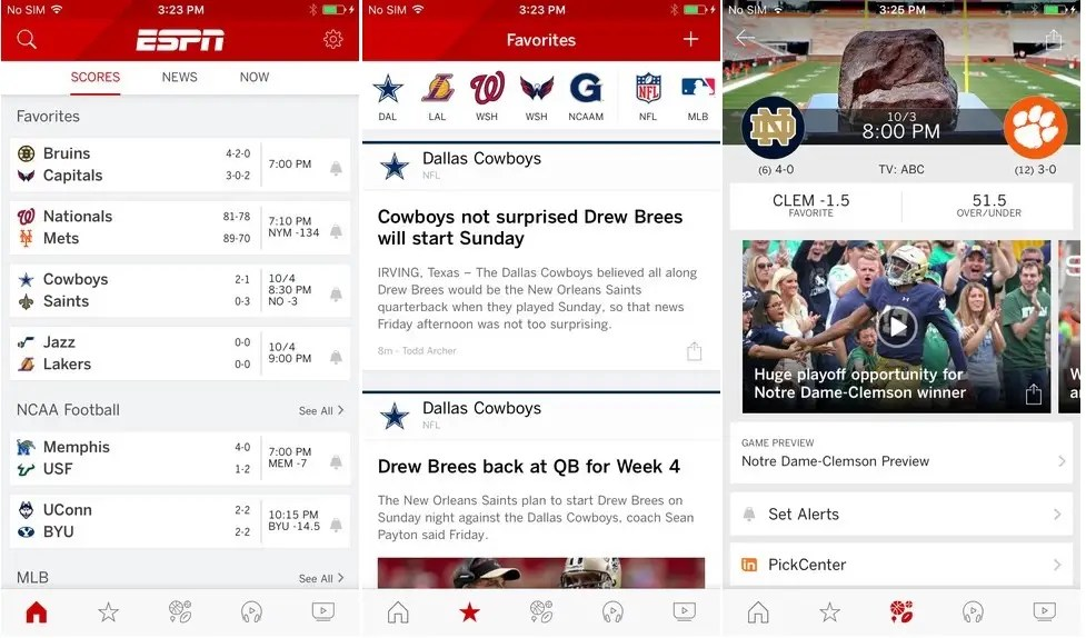 ESPN will keep track of all your sports favorite teams.