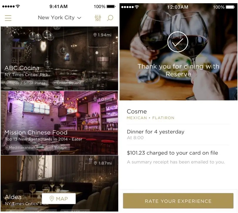 Reserve will help you make a restaurant reservation and pay for your meal.