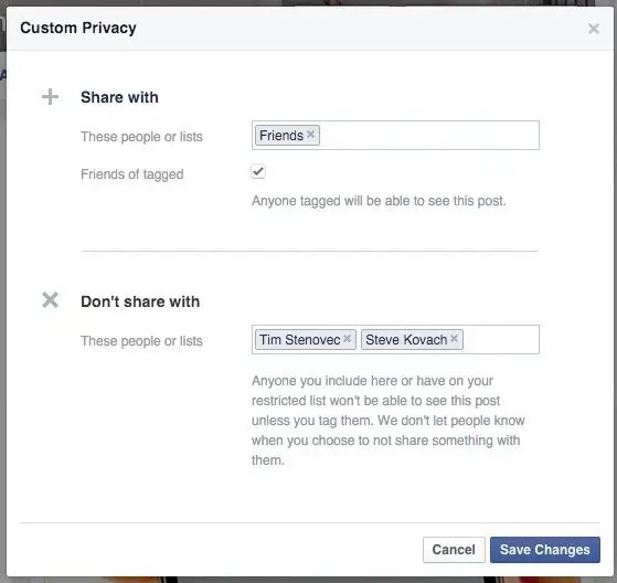 8. When you share a post, you can choose to hide it from specific people.