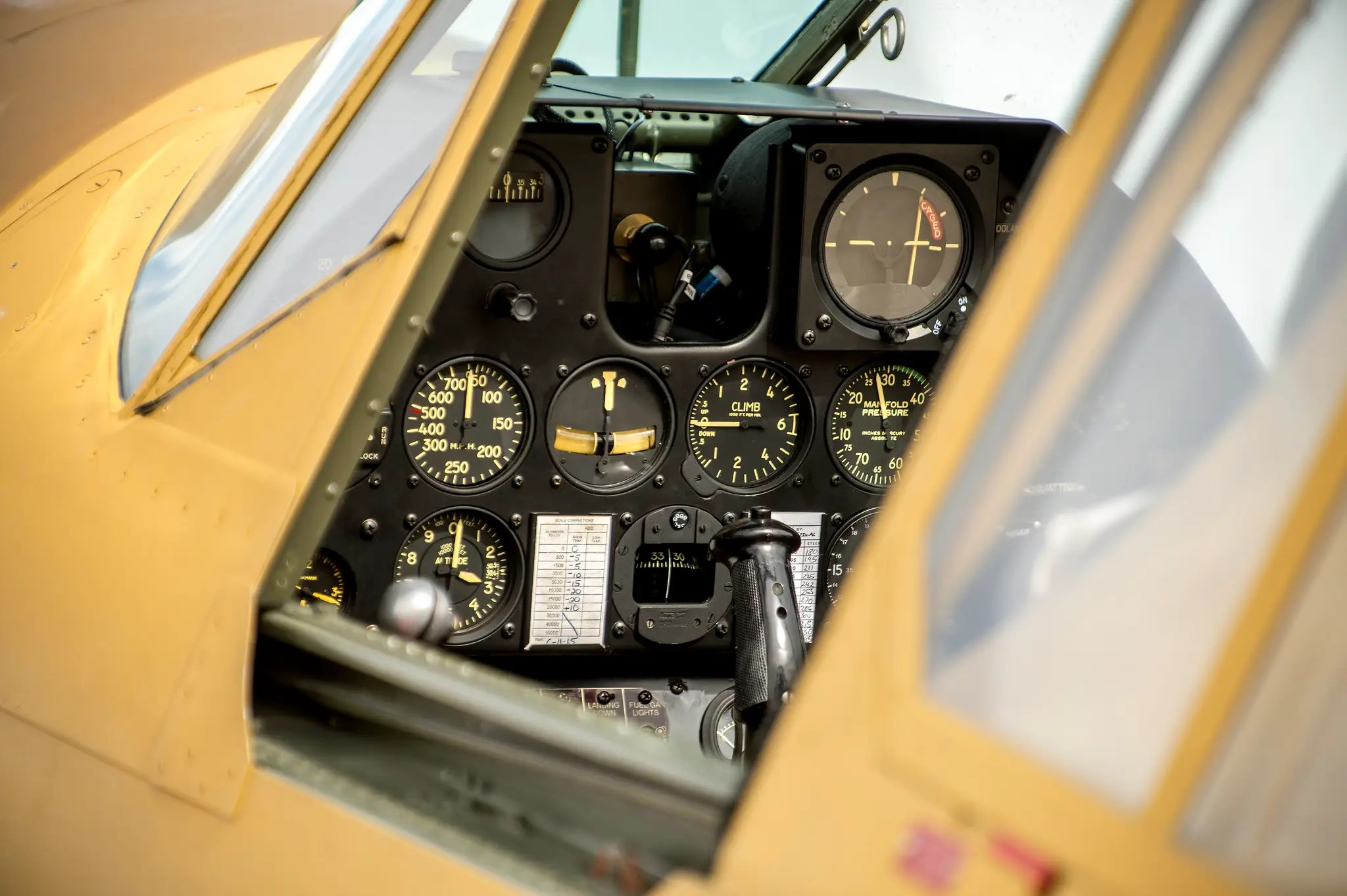 The P-40 was first produced in 1939, but thanks to the maintainers at the Air Force Heritage Flight Foundation, this cockpit looks like it just rolled off the line.