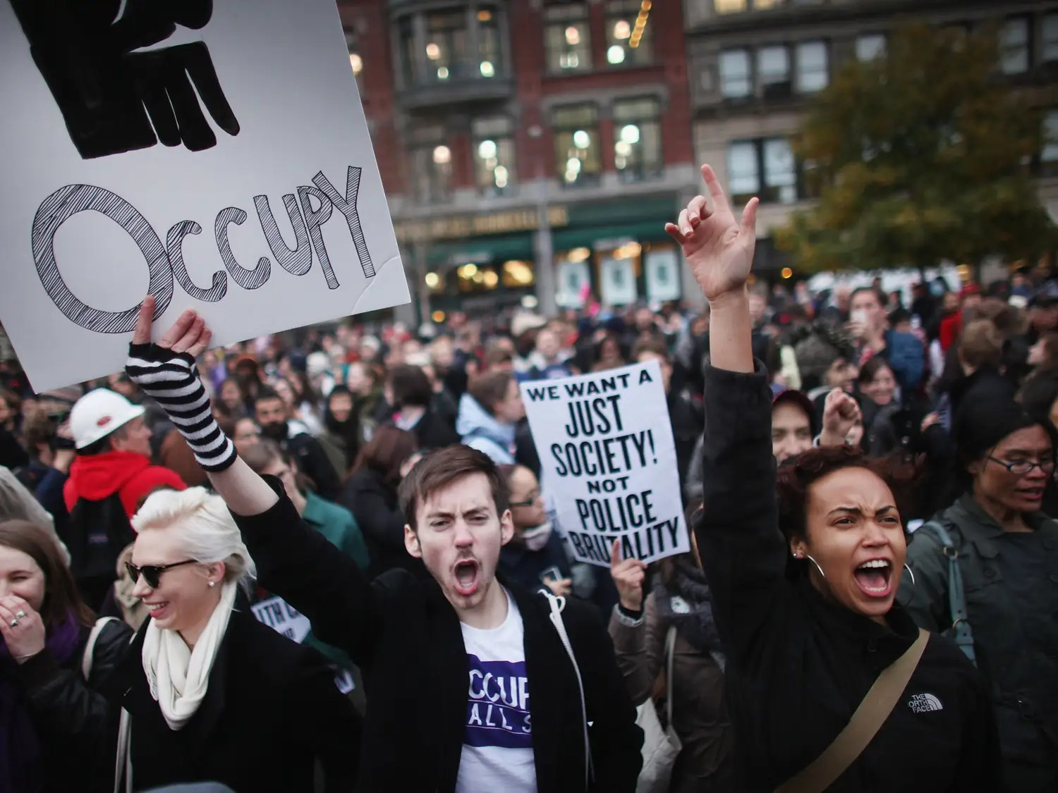 "The Occupy Wall Street movement, which began in 2011, fought social and economic inequality worldwide, with emphasis on the influence corporations hold over the US government. The grassroots effort coined the rallying cry, ""We are the 99%."""