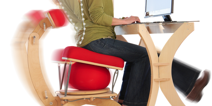 Sprang office chair has an exercise ball built in