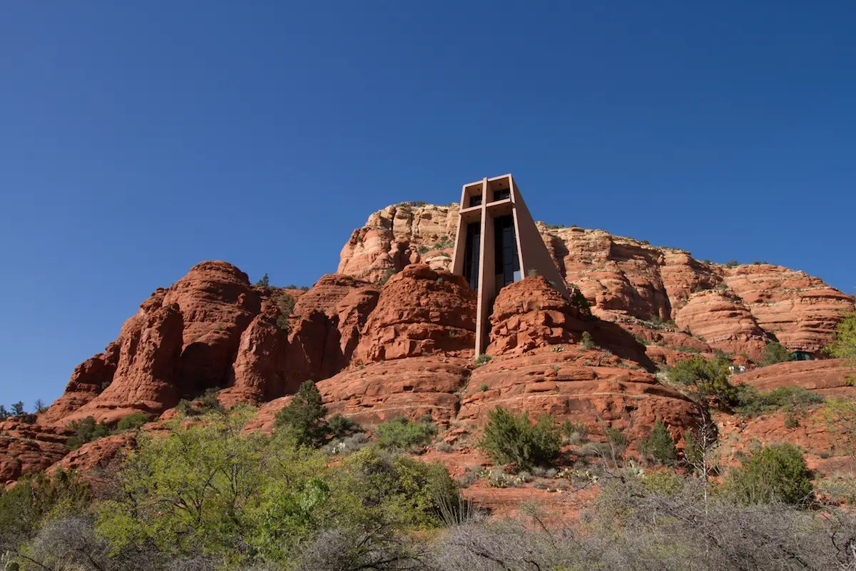 4. Frank Lloyd Wright's church at Cathedral Rock in Sedona, Arizona, blends almost seamlessly into the rocks surrounding it.