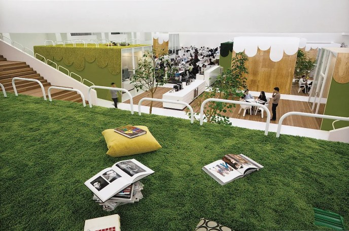 The ad agency of TBWA Hakuhodo, in Tokyo, gives employees a way to connect with nature without venturing outside: soothing indoor lawns.