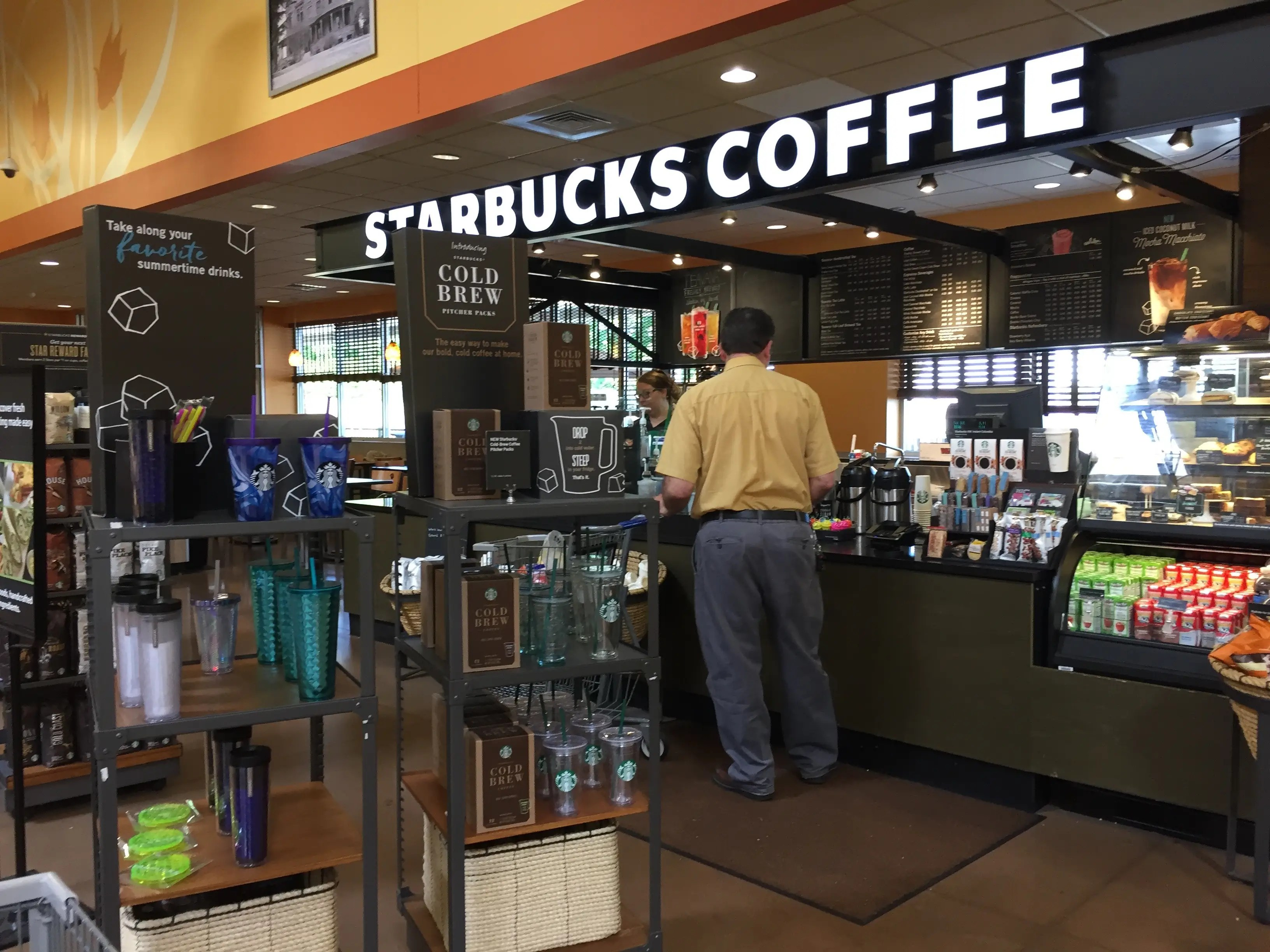 Starbucks is nearby so you can grab a drink before you shop.