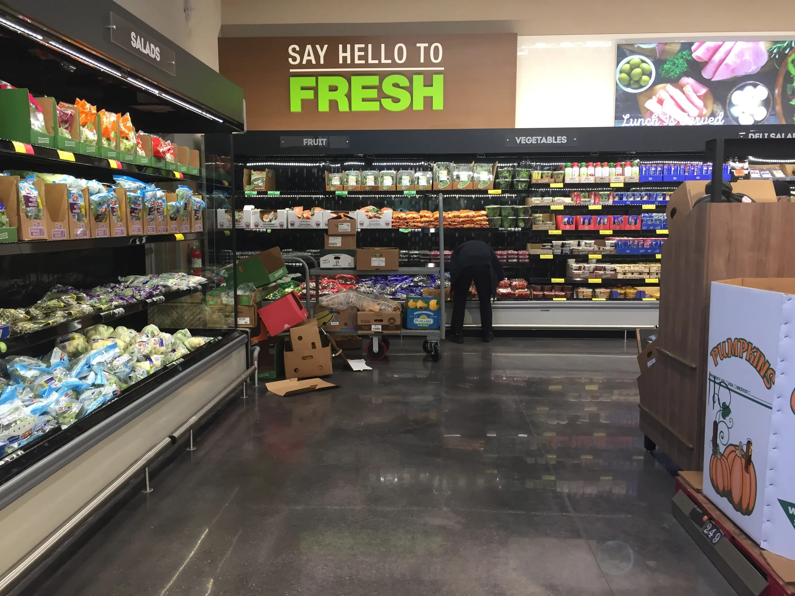 At the new Aldi, there's a large refrigerated section devoted to produce.