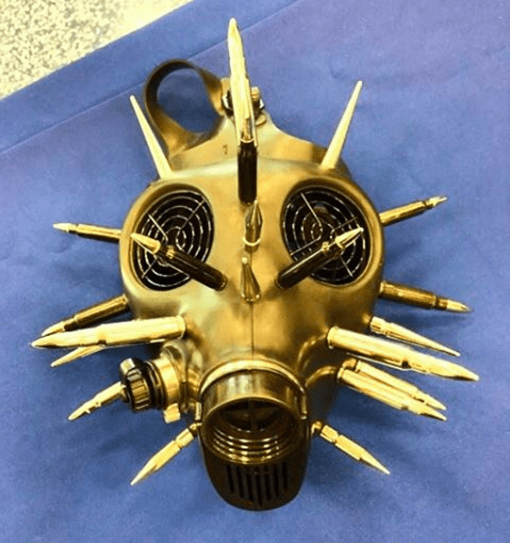 TSA gas mask bullets weapon airport security