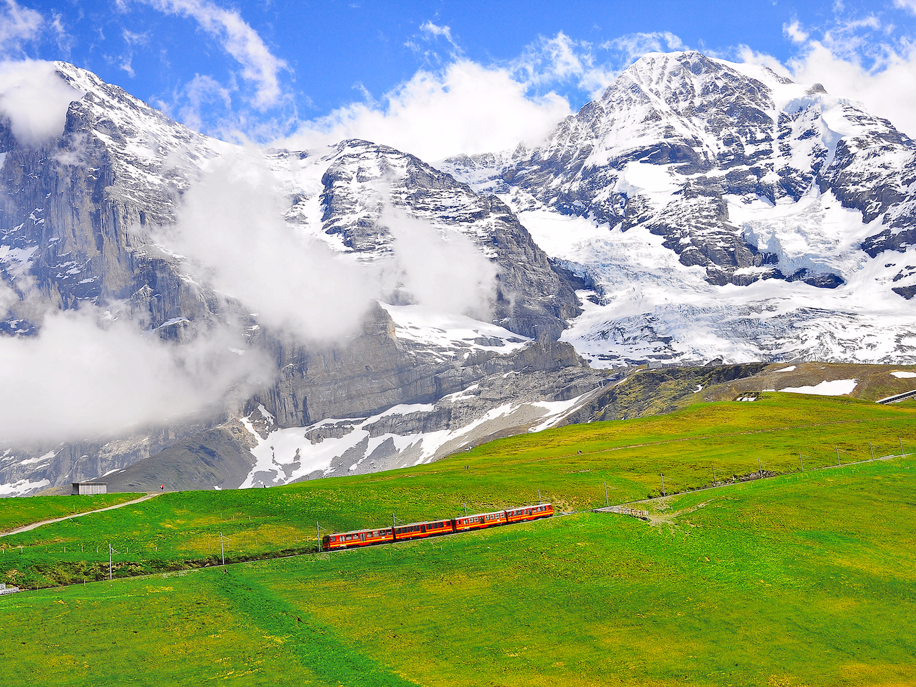 Just a short trip from Lauterbrunnen, you'll find a cog railway that runs up to the Jungfraujoch, a peak that is home to the Aletsch Glacier, as well as Europe's highest-altitude railway station and post office.