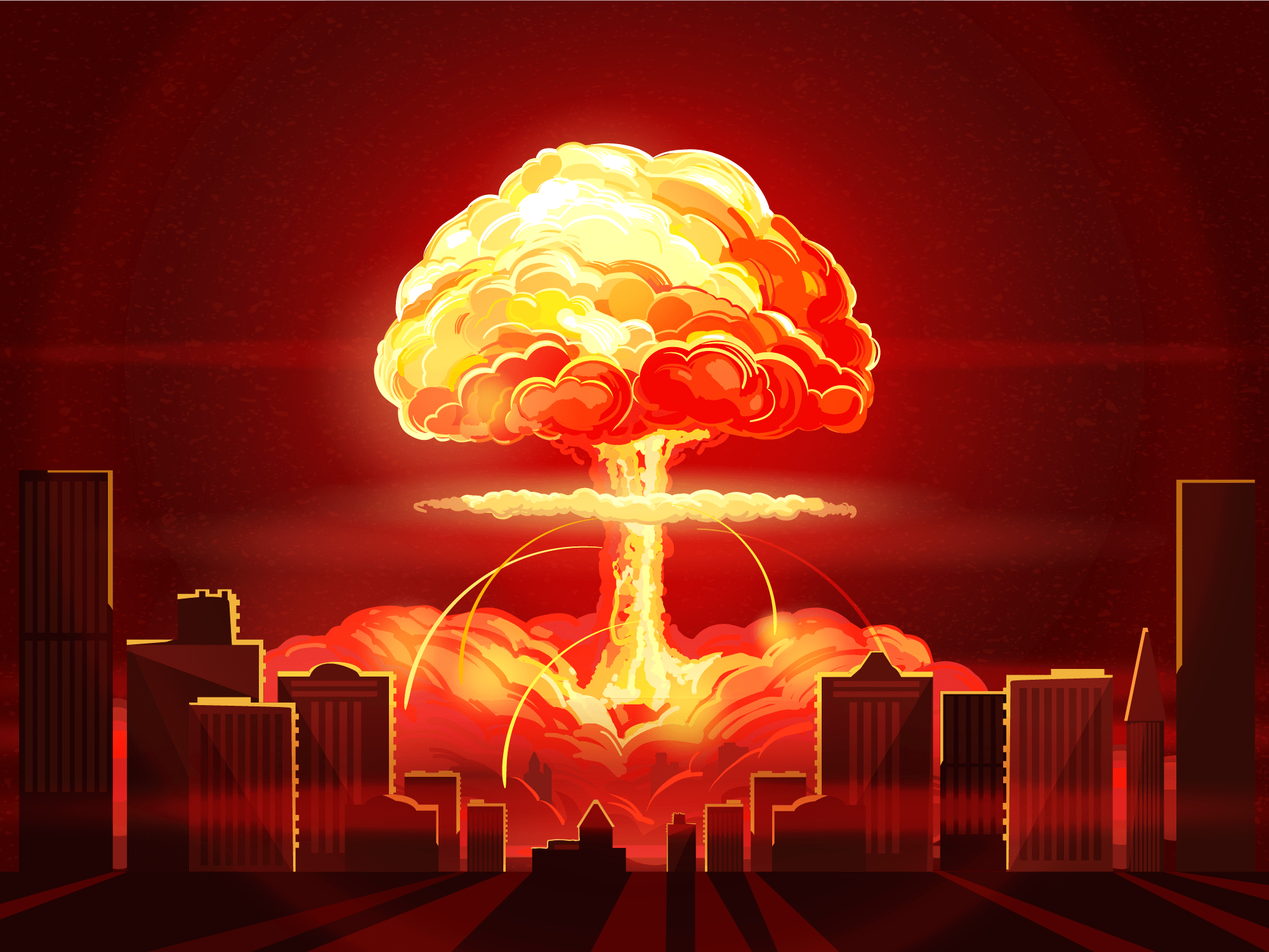 nuclear bomb explosion blast city shutterstock_639638614