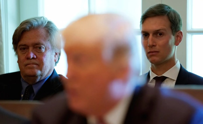 Trump, Bannon, Kushner Bannon reportedly wants to start a network to the right of Fox News Bannon reportedly wants to start a network to the right of Fox News rts16qq3