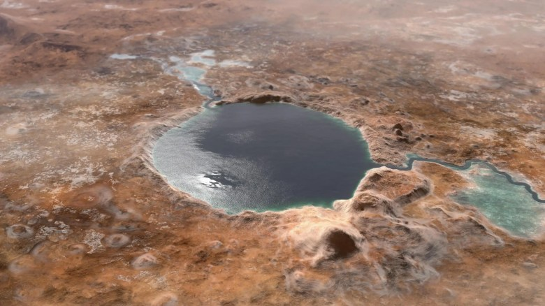 jezero crater mars lake water illustration