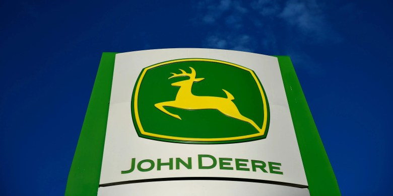 FILE PHOTO: The leaping deer trademark logo is seen on a sign outside a John Deere dealership in Taylor, Texas, U.S., February 16, 2017. REUTERS/Mohammad Khursheed/File Photo