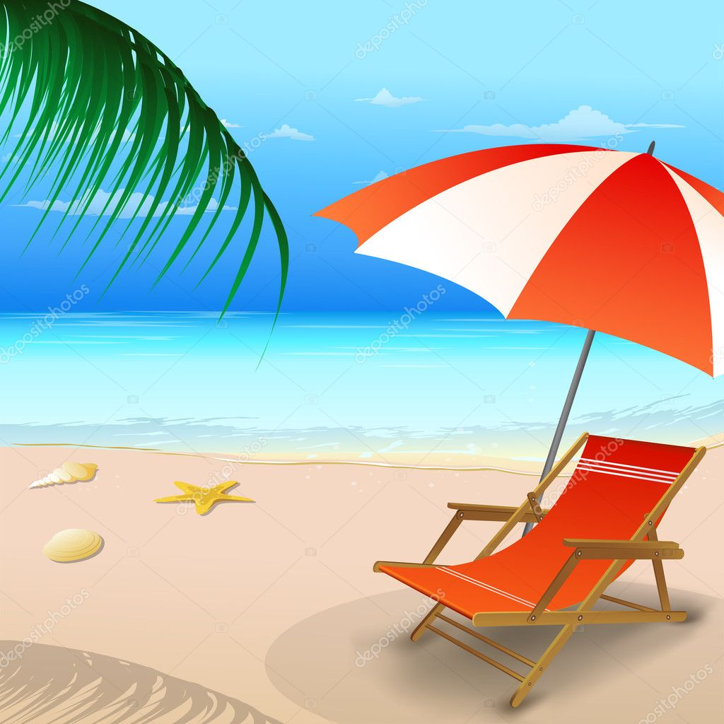 Beach Chairs With Umbrella Beach Chair With An Umbrella Stock Photo Get4net 5044404