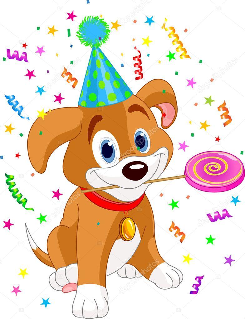 Happy Birthday Dog Clipart : happy, birthday, clipart, Birthday, Puppy, Vector, Image, Dazdraperma, Stock, 3121448