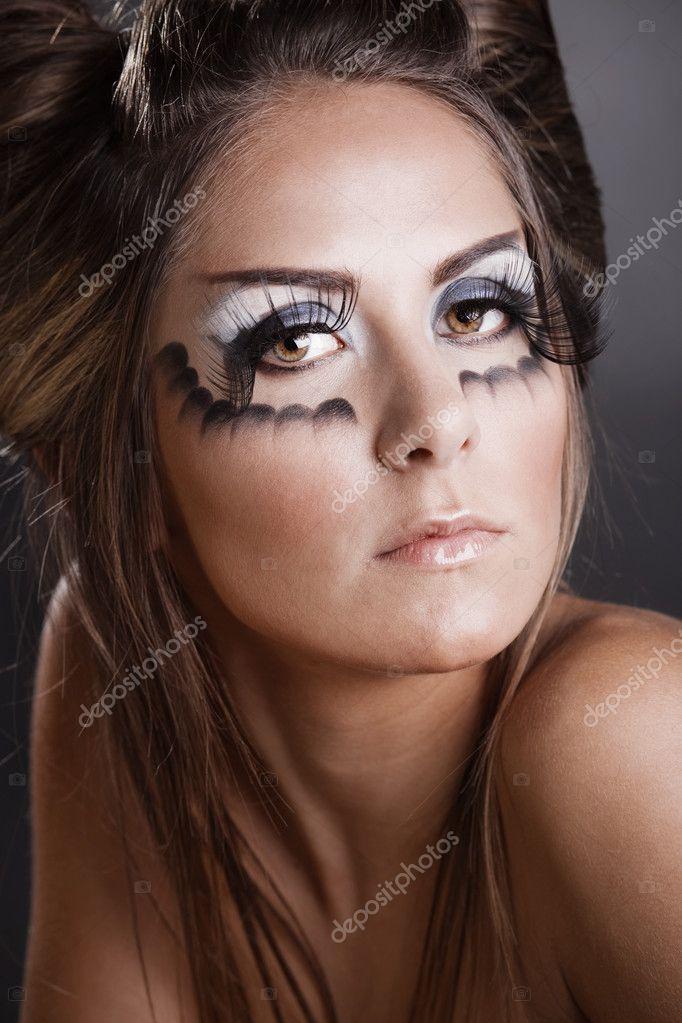Make Up Und Frisur Für Karneval — Stockfoto © Alenkasm #2756581