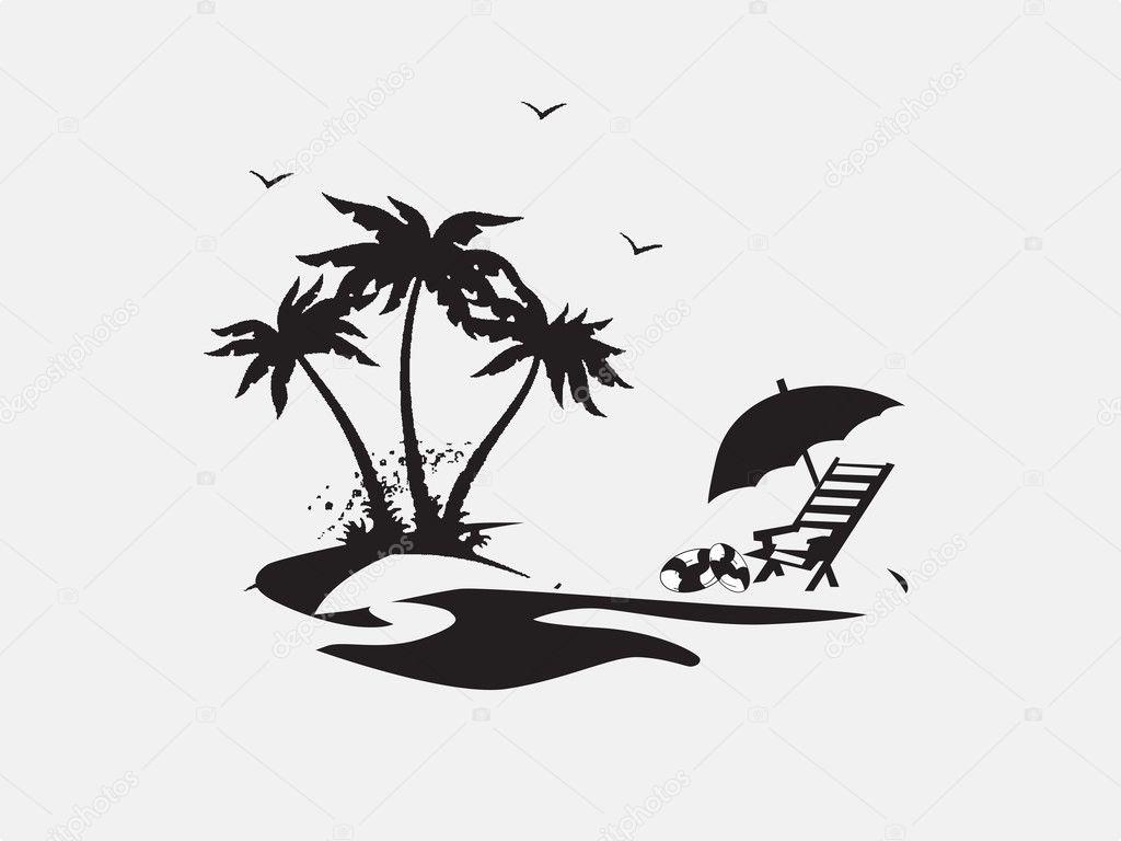 Palmen Mit Liegestuhlen