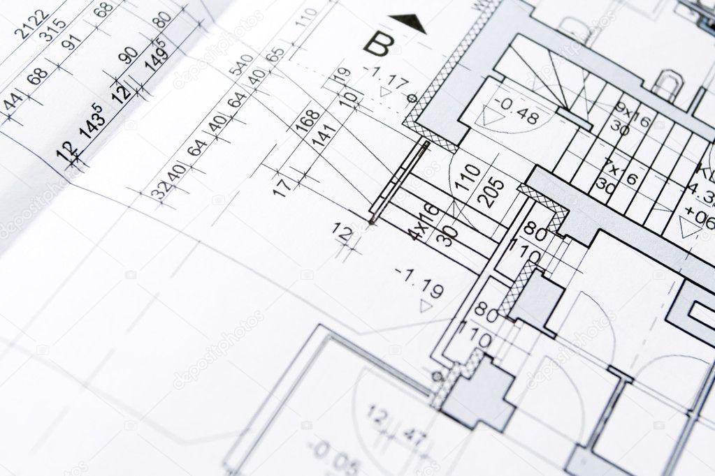 Architect blueprints background — Stock Photo © blasbike