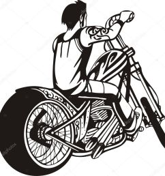 biker on motorcycle motorcycle harley tuned chromium vector by digital clipart [ 1003 x 1023 Pixel ]